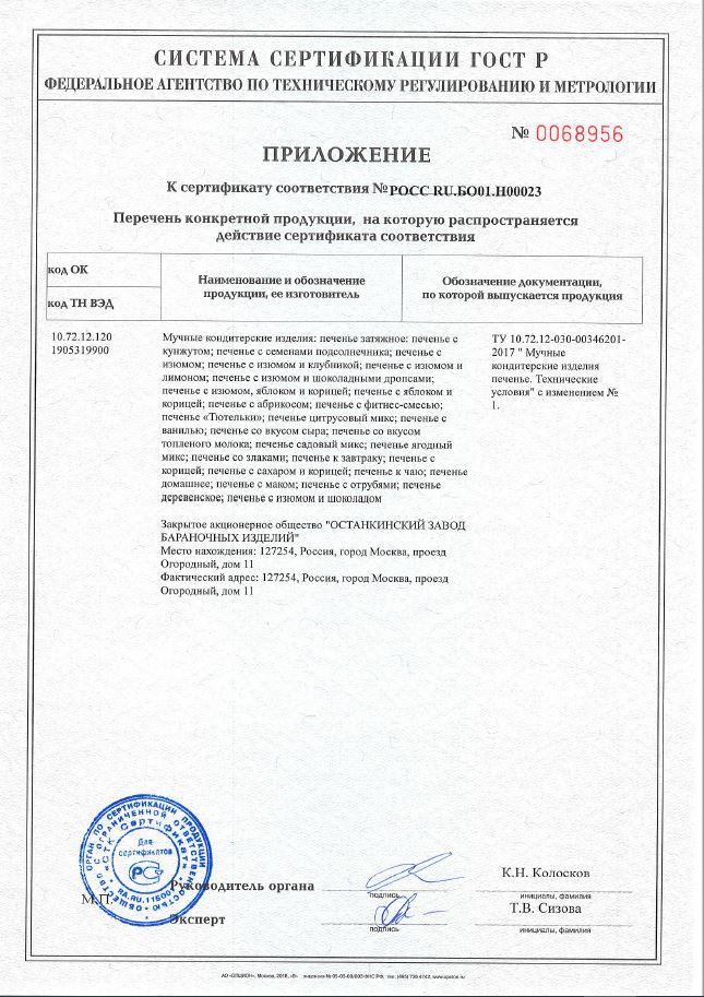 Приложение к сертификату РСТ